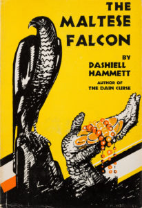 Portada de novela negra El halcón maltés